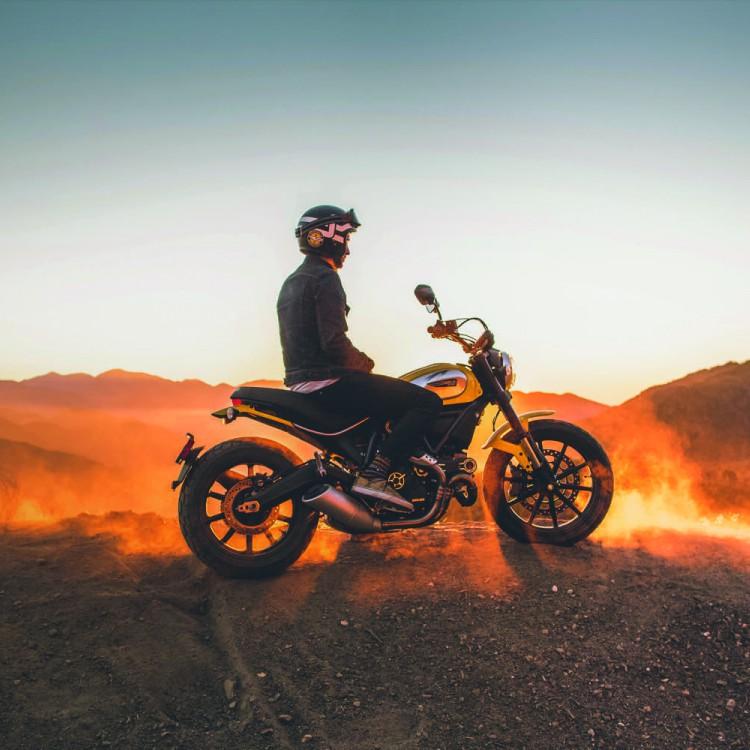scrambler in desert