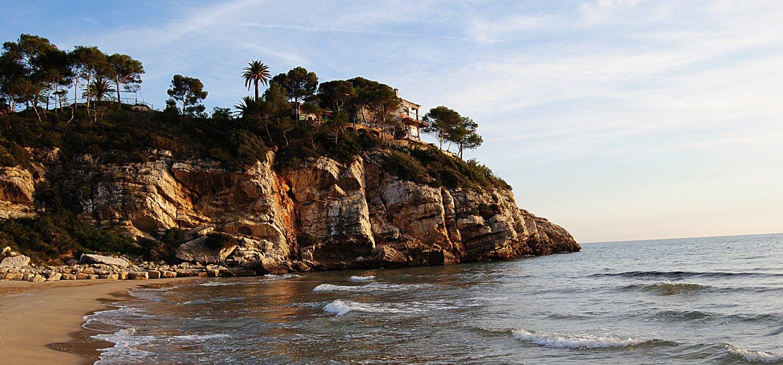 Seaside road Garraf. Mediterranean Sea
